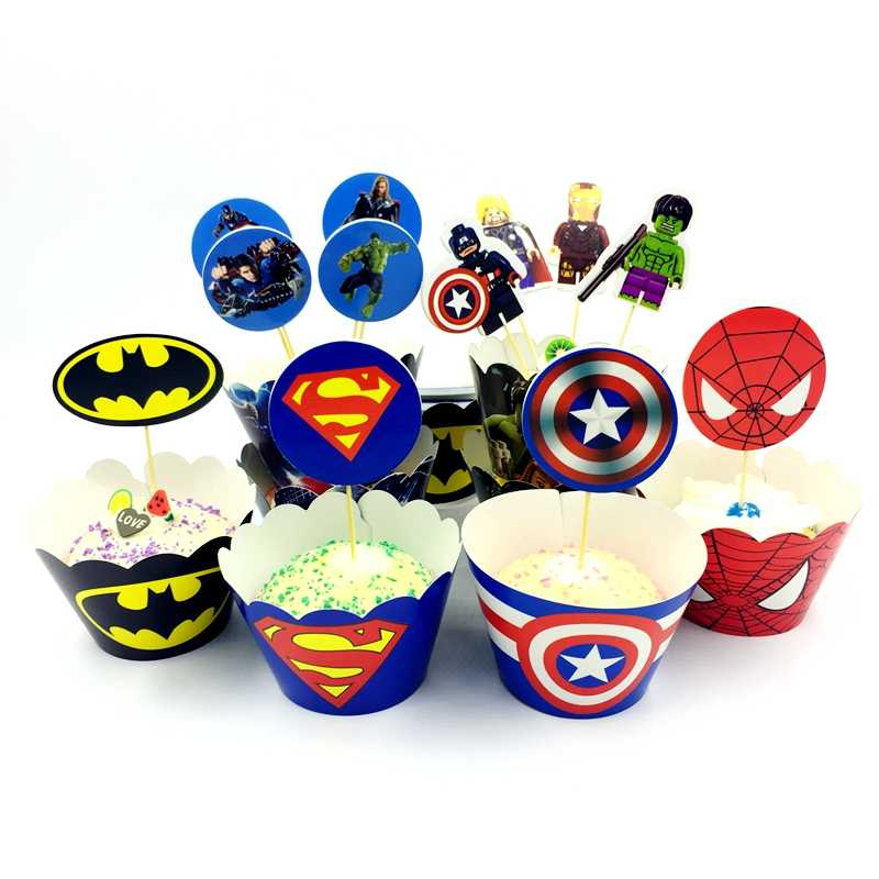 12 Set Superhero Avengers Cupcake Wrappers Cake Toppers Spiderman Batman Label Birthday Party Kids boy Favor Decoration Supplies