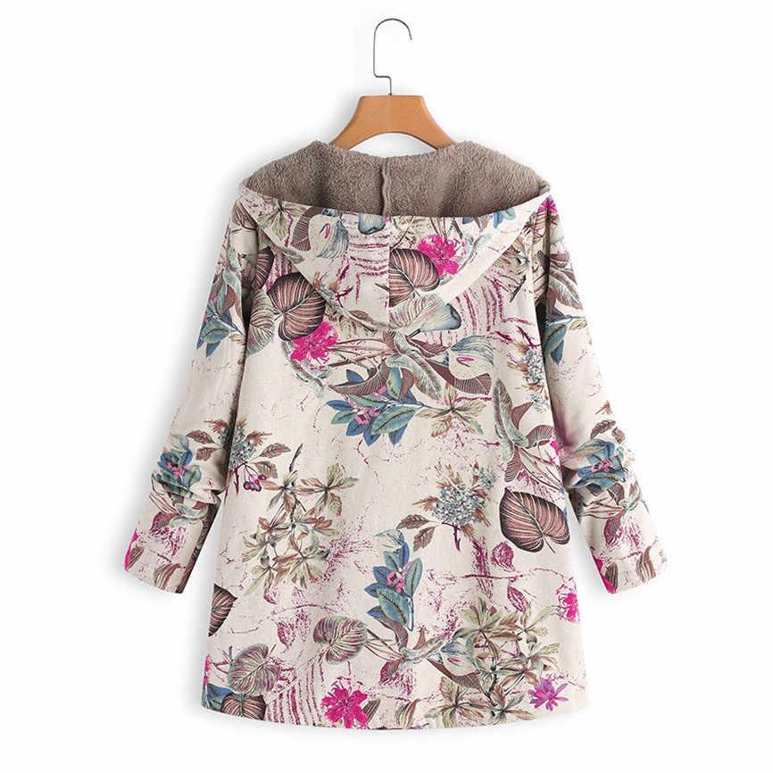 Wanita Jaket Mewah Mantel Wanita Hangat Musim Dingin Lebih Tahan Dr Floral Cetak Berkerudung Kantong Vintage Kebesaran Mantel Plus Ukuran