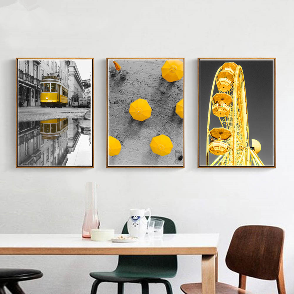 Gohipang Nordic Black And White Cityscape Canvas <font><b>Painting</b></font> Yellow Ferris <font><b>Wheel</b></font> And <font><b>Car</b></font> Poster Print Picture For Home Decoration image