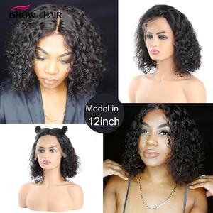 Image 2 - Pelucas de cabello humano con encaje frontal Bob corto 13x4x1, peluca de cabello humano rizado brasileño para mujeres negras, Remy completo Ishow, peluca con encaje de densidad 150