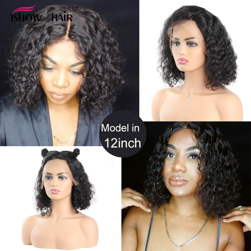 Image 2 - Short Bob Lace Front Human Hair Wigs 13x4 Brazilian Curly Human Hair Wig For Black Women Full  Ishow Remy 150 Density Lace Wig-in Human Hair Lace Wigs from Hair Extensions & Wigs