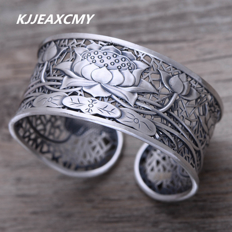 KJJEAXCMY S999 Zuyin jewelry silver hollow lotus lotus retro female trendsetter wide Bracelet цена и фото
