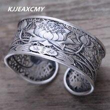 63e2d908241f KJJEAXCMY S999 Zuyin joyería de plata lotus retro femenino trendsetter  pulsera ancha(China)
