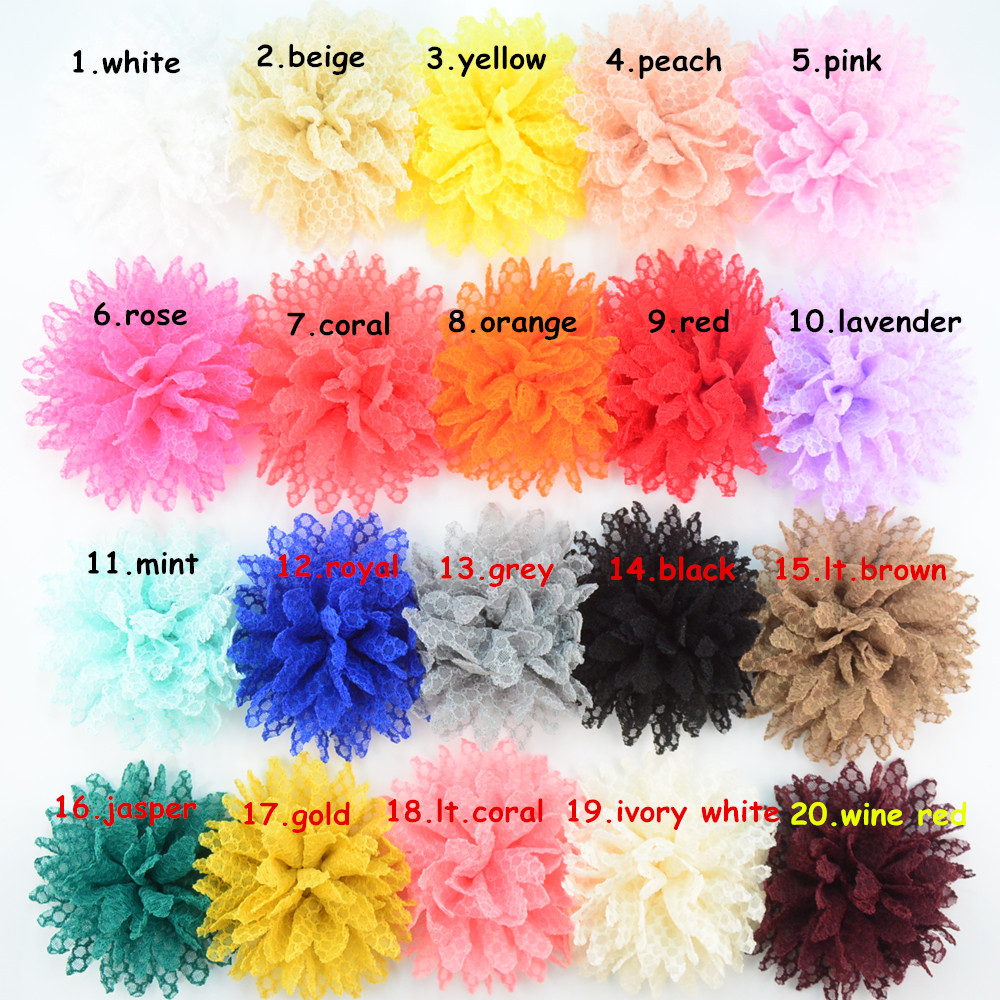 Free shipping 200pcs lot Cute girl flower for headbands lace sunflower clothing accessories MHC06