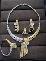 Luxury AAA cubic zirconia middle east style necklace , earrings ,bangle and ring 4pcs dubai jewelry dinner set,S6777
