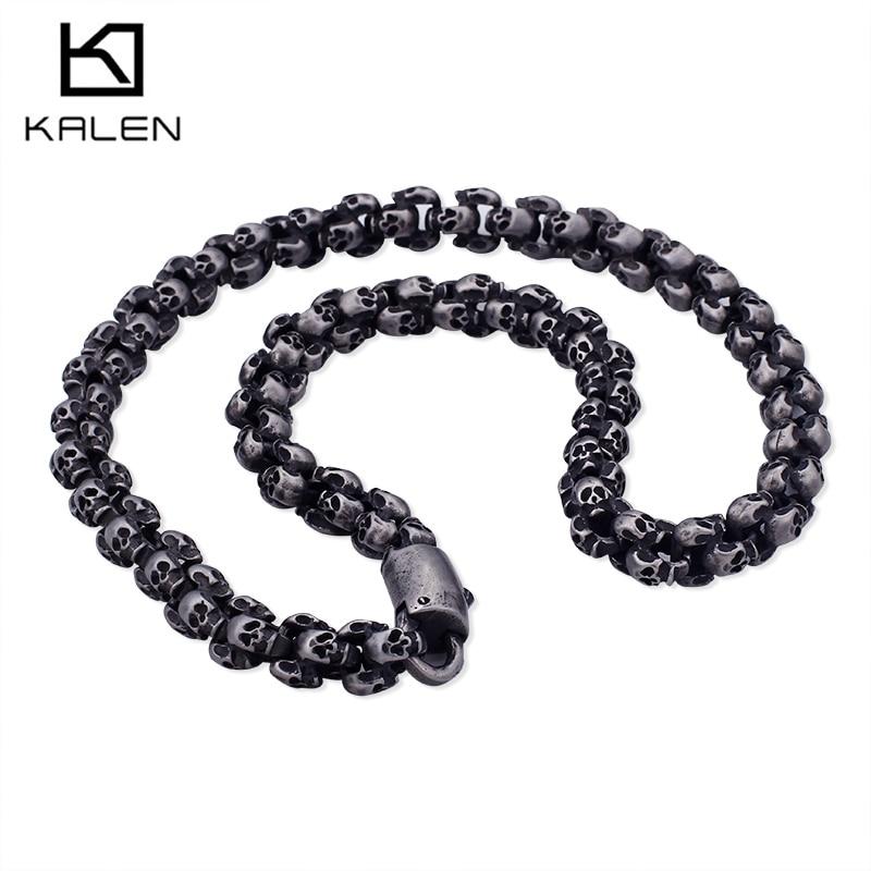 Kalen панк 55 ~ 70 см длинный череп ожерелья для Для мужчин Нержавеющаясталь матовый полированный Шарм цепи мужской готические украшения 2018