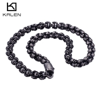 Kalen Punk 50~70cm Long Skull Necklaces Men Stainless Steel Brushed Polished Gold Charm Link Chains Choker Male Gothic Jewelry