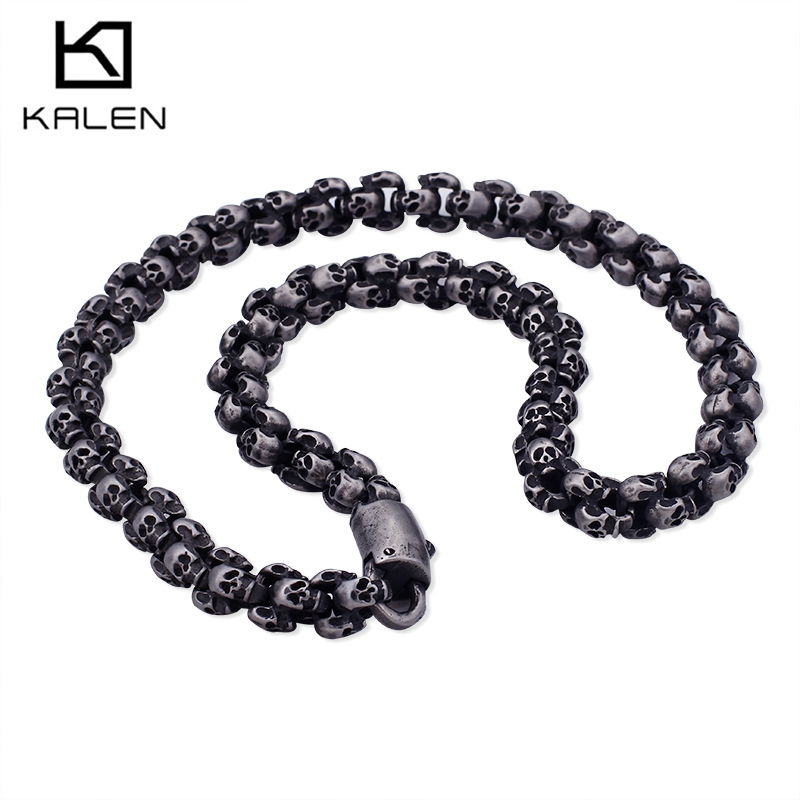 Kalen Punk 55~70cm Long Skull Necklaces For Men Stainless Steel Brushed Polished Charm Link Chains Male Gothic Jewelry 2018 kalen punk exaggerate men s statement necklaces rock 316 stainless steel skull charm 65cm long necklace cool biker pub accessory