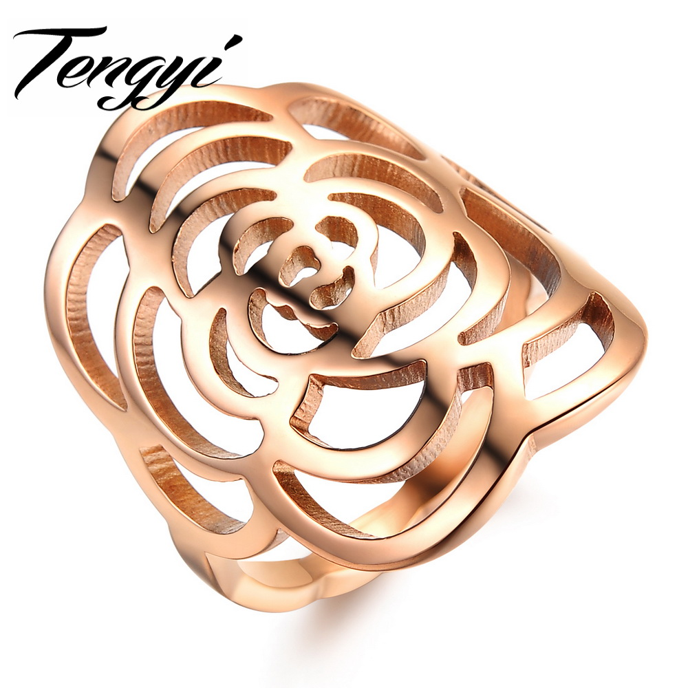Tengyi Classic Extravagant Rose Gold Color Steel Hollow Big Flower Finger  Ring Lady Fashion Jewelry Dainty