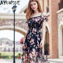 AYUNSUE Newest Women Summer Dress 2018 Elegant Floral Printted Boho Strap Dresses  Sex Sun Beach European 69a6347d3d50