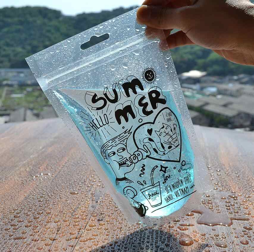 100 Pack 450ml Cute Design Stand Up Plastic Drink Packaging Bag Pouch for Beverage Water Juice Milk Coffee,
