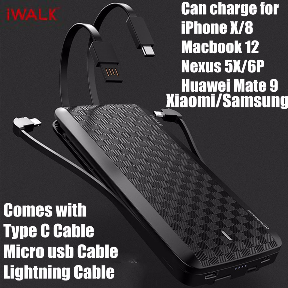 IWalk Carga Rápida 3.0 Banco Do Poder 12000 mah MFI Com o Tipo C Cabo Pino para o iphone X 8 8 Xiaomi huawei P20 Mi8 Oneplus Samsung S9
