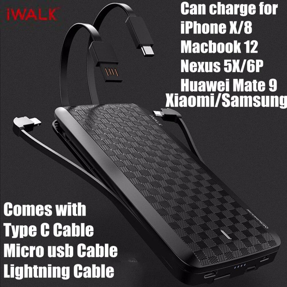 IWalk Charge Rapide 3.0 Puissance Banque 12000 mah MFI Avec Type C 8 Pin Câble pour iPhone X 8 Xiaomi mi8 Huawei P20 Oneplus Samsung S9