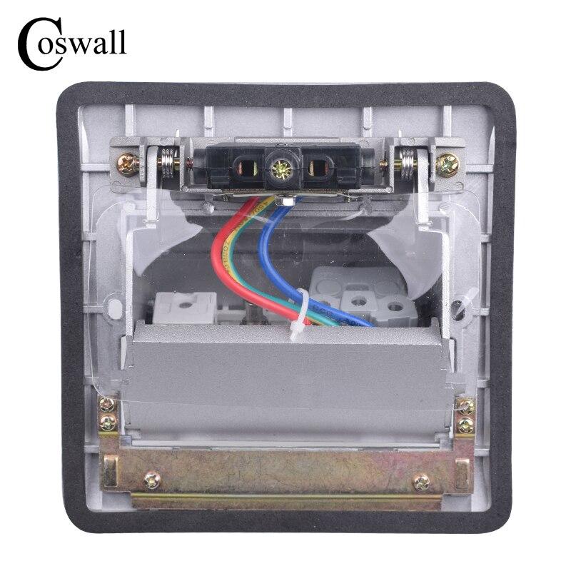Panneau en aluminium Coswall prise de sol 16A russie espagne prise de courant Standard EU Port de Charge USB données prise Internet RJ45 - 3