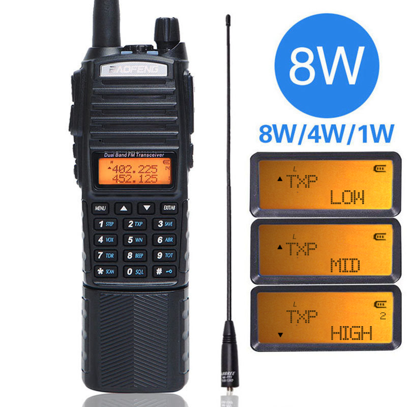 Baofeng UV 82 Plus 8W High Power DC Connector 3800mAh Walkie Talkie Dual Band 136 174