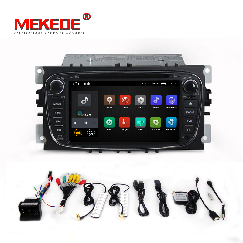 1024x600 HD 2 din Android 7.1 Quad Core Car DVD Player GPS Navi for Ford Focus Mondeo Galaxy with Audio Radio Stereo Head Unit