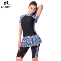 LEBESI Women Plus Size One Piece Swimsuit With Two Piece Skirt Professional Sports Bathing Suit With Sleeve Long Pants Monokini