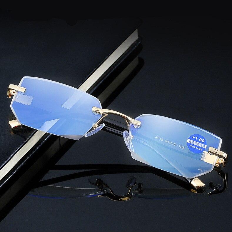 HD качество Diamond резка очки для чтения женщин анти синий Rray кристалл без оправы диоптрий пресбиопические очки + 4,0 ~ 1,0 дальнозоркость