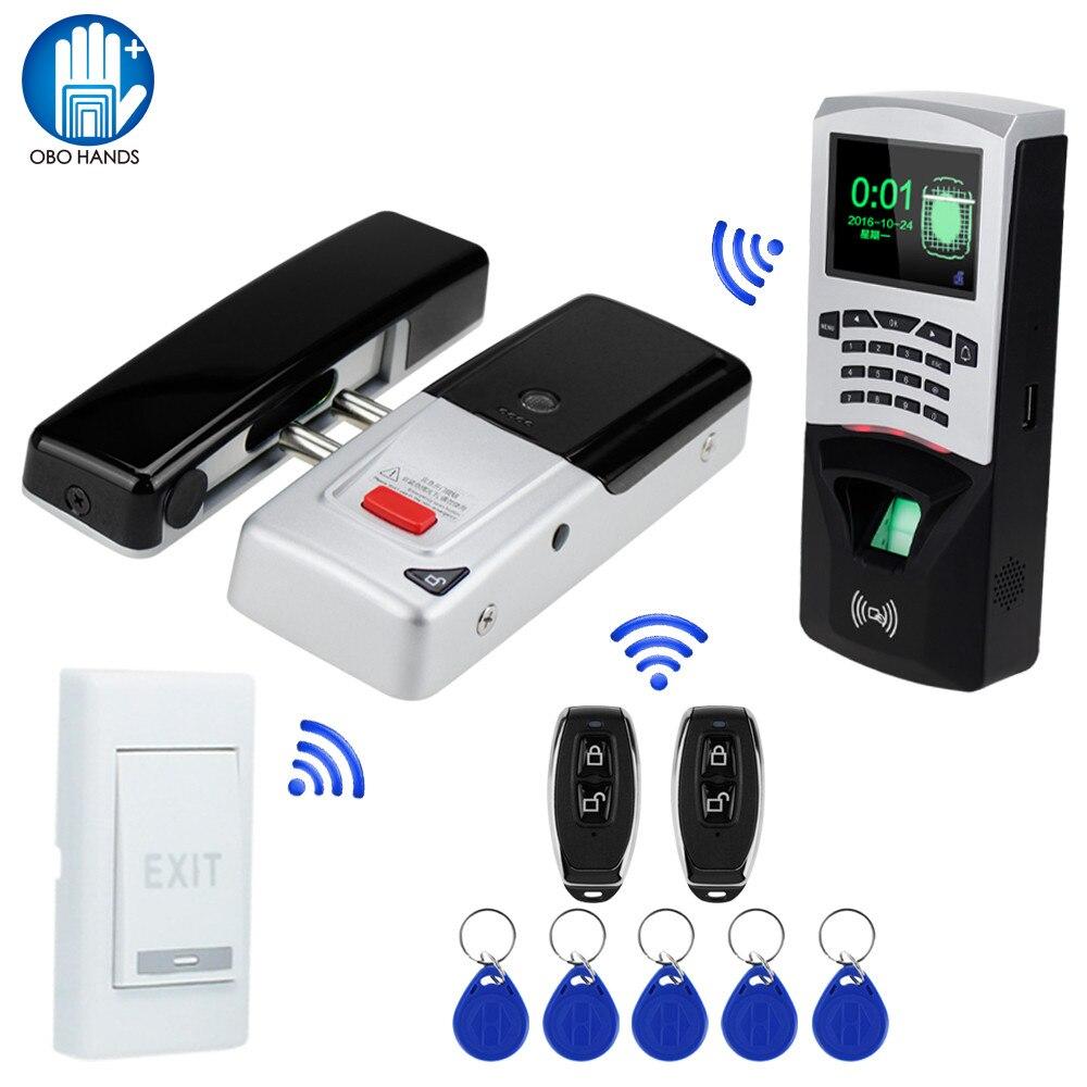 Nouvelle Arrivée 433 mhz Sans Fil Serrure Électrique Télécommande Serrure À Mortaise Avec RFID Clavier D'empreintes Digitales Machine Porte-clés
