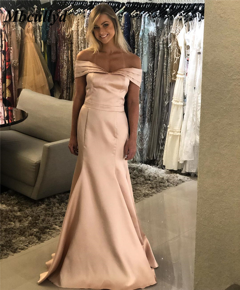 Mbcullyd Champange   Prom     Dresses   2019 Long Floor Length Mermaid Evening   Dress   For Women Sexy Off Shoulder Ruffled robe de soiree