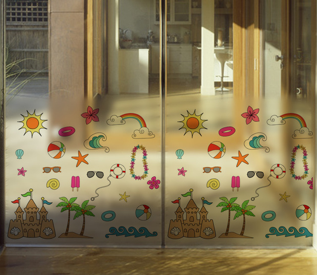 Cute Cartoon Glass Window Film Glass Sticker Children