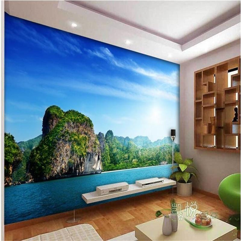 Купить с кэшбэком beibehang custom photo wall mural wallpaper-3d Luxury Quality HD Sea coast islands landscape blue screen large wall mural paper