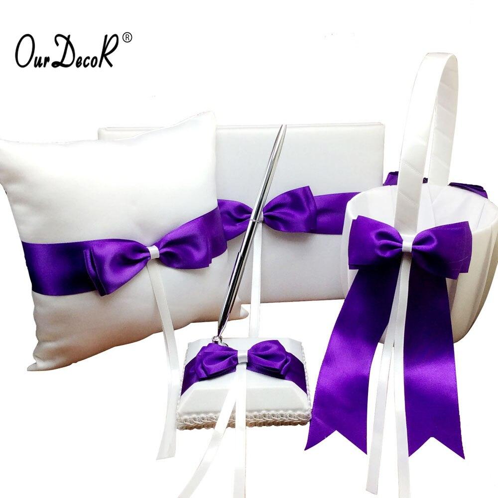 4 pièces/ensemble Satin violet ruban Bowknot anneau de mariage oreiller et panier de fleurs livre d'invité et stylo ensemble accessoires de cérémonie de mariage