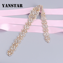 YANSTAR (5pcs)  Wholesale HandmadeRose Gold Rhinestones Appliques Sewing On Bridal Wedding Dresses Belt