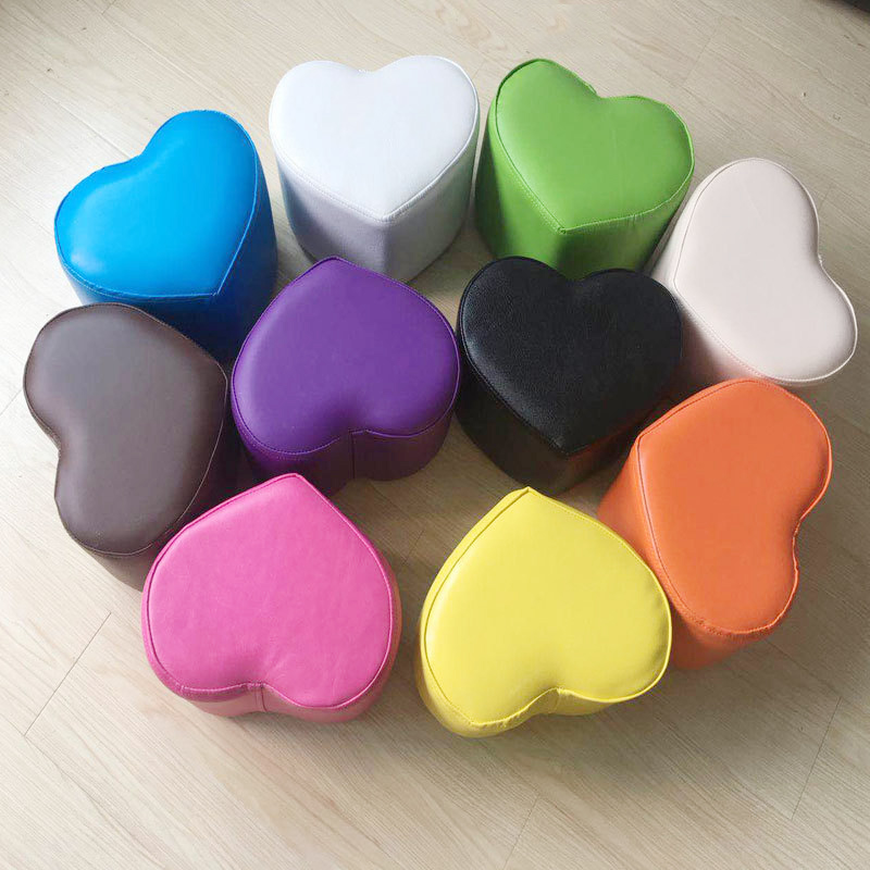 Solid Wood PU Small Ottoman Heart Shape Stool Love Sofa Bench Makeup Stool  Bench Wear Footstool Change Shoes Stool Children Sit