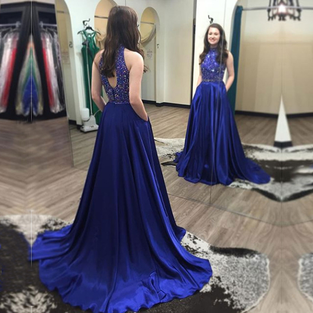 2017 Sexy 8th Grade Prom Dress for Graduation High Neck Long Party Dresses  Gorgeous Satin Beaded A-Line Royal Blue Prom Dresses a932870dae0d