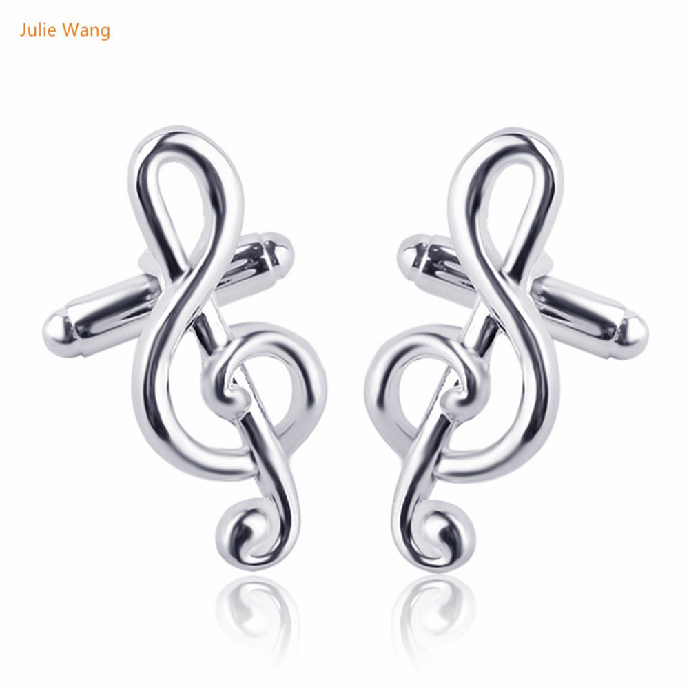 Julie Wang 1 Pair 2017 Designed Exquisite Music Symbol Cufflinks Fashion French Notes Wedding Party Celebration CJ586