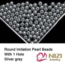 New Round Pearls For Jewelry Silver Gray Straight Hole Round Pearls 6mm 8mm 10mm Resin Imitation Pearls 18g/bag(China)