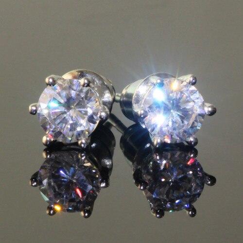 Yhamni Genuine 925 Sterling Silver Earrings 6mm 1 Carat Cz Diamant Wedding Stud For Women Men Fashion Jewelry Ye004 In From
