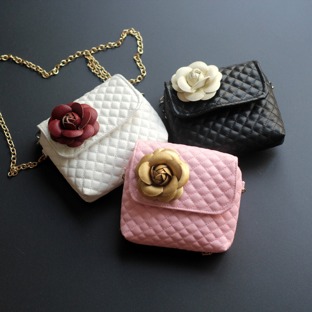 Monsisy Children Handbags For Girl Purse Lolita Princess Shoulder Bag Diamond Lattice PU Leather Flower Metal Chain Kid Wallet colorful pu leather strap for bag accessories handle with metal clasp for diy purse 10pcs lot