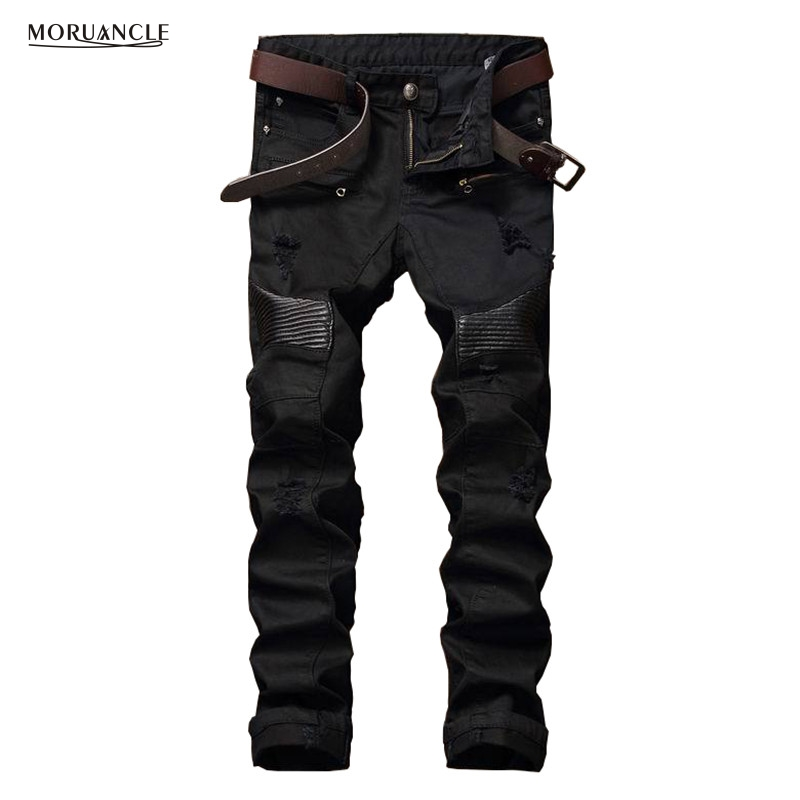 Famous Brand Designer Mens Biker   Jeans   Fashion Ripped Motorcycle Denim Joggers For Man Slim Fit   Jean   Trousers Leather Patchwork