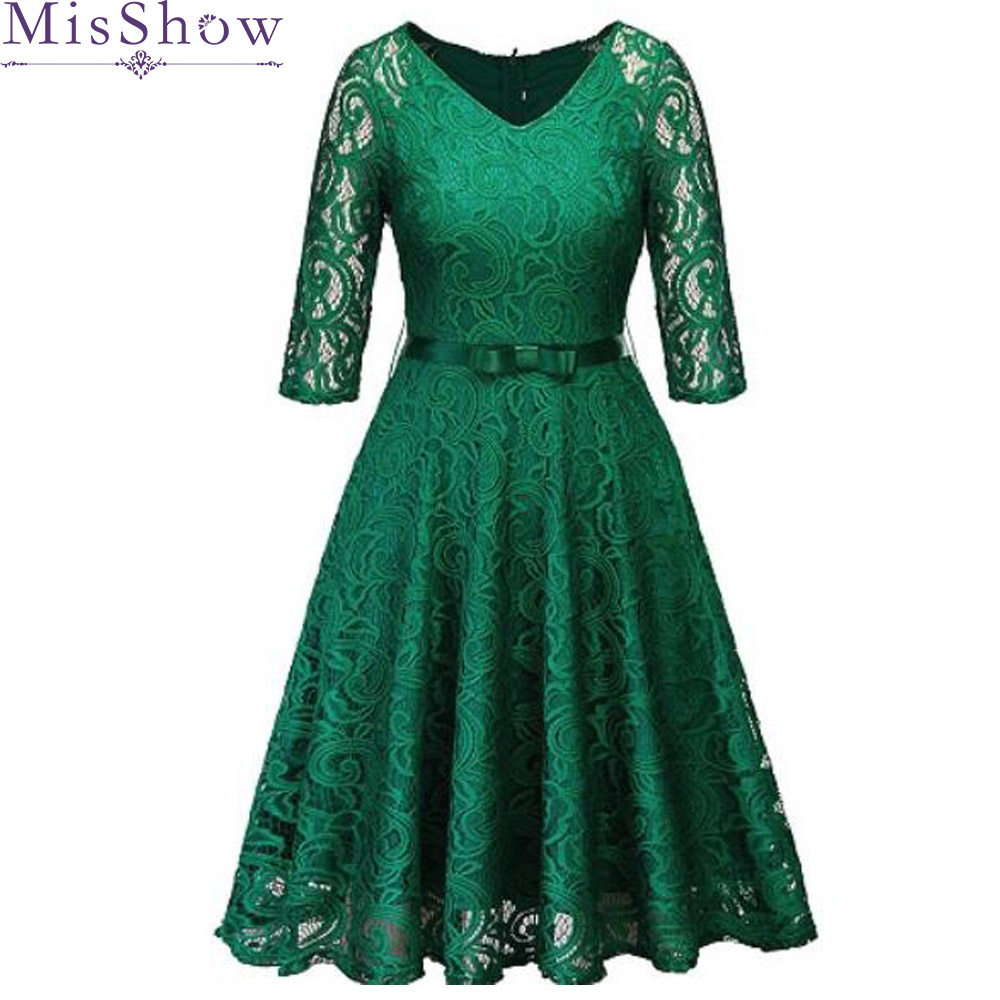 In Stock Robe Cocktail Party Dress 2019 Women Elegant A-Line Short Cocktail Dresses Keen Length Green V Neck Lady Prom Dress
