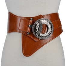 Fashion Ladie Vintage Check Style Waist Belt Super Wide PU+Cowskin Adjustable Sh
