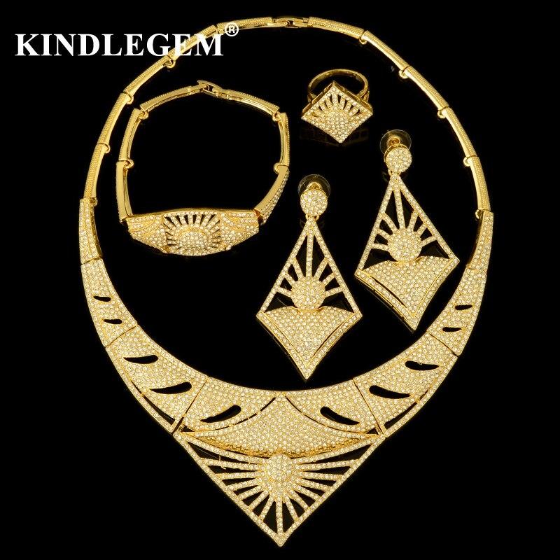 Kindlegem 2018 chaud luxe étincelant complet strass Zircon collier boucles d'oreilles Bracelet anneau pour les femmes africaine Habesha ensemble de bijoux