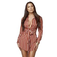 Autumn Striped Shirt Mini Dress Women Casaul Long Sleeve Turn-down Collar Sexy Women Dress Elegant Lace Up Shirts Dress Bestidos fashionable striped shirt collar high low dress for women