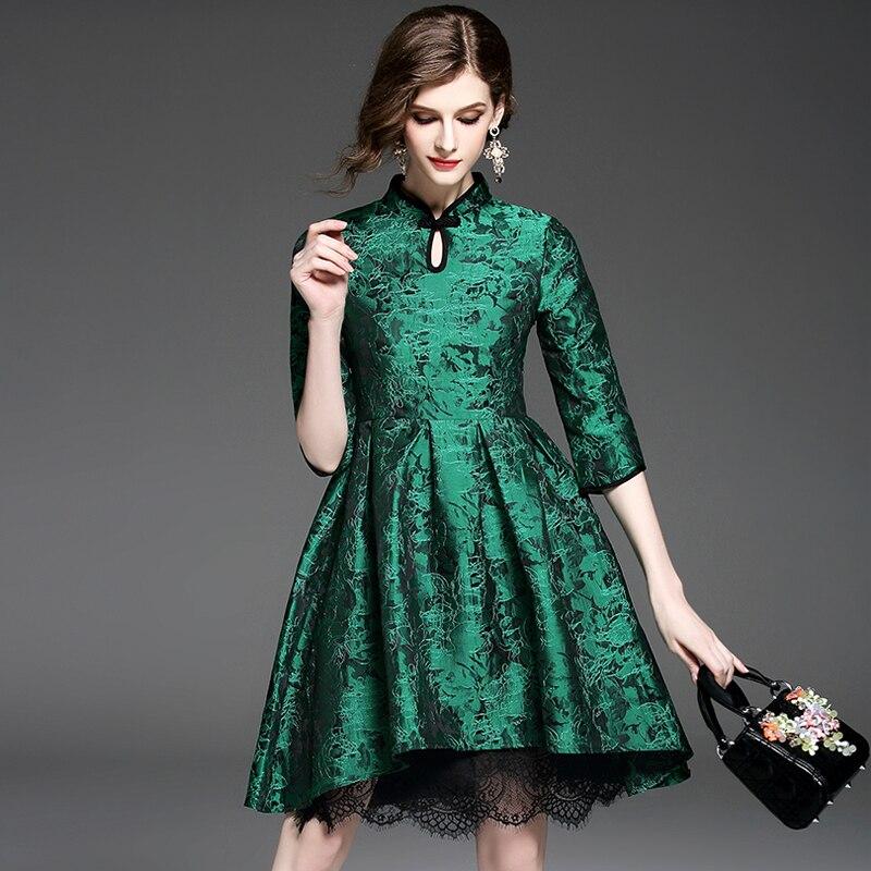 Women Retro Vintage Dress Party Clothing Quality Jacquard Lanon Restore Ancient Ways New Green Halft Sleeve Dresses 2017 Spring
