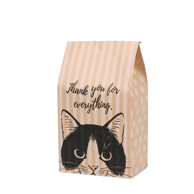5 Pcs Kraft Paper Gift Bag Candy Cookies Kraft Paper Bags Gift Packing Wedding Home Party Birthday Gift Packaging Cat Pattern
