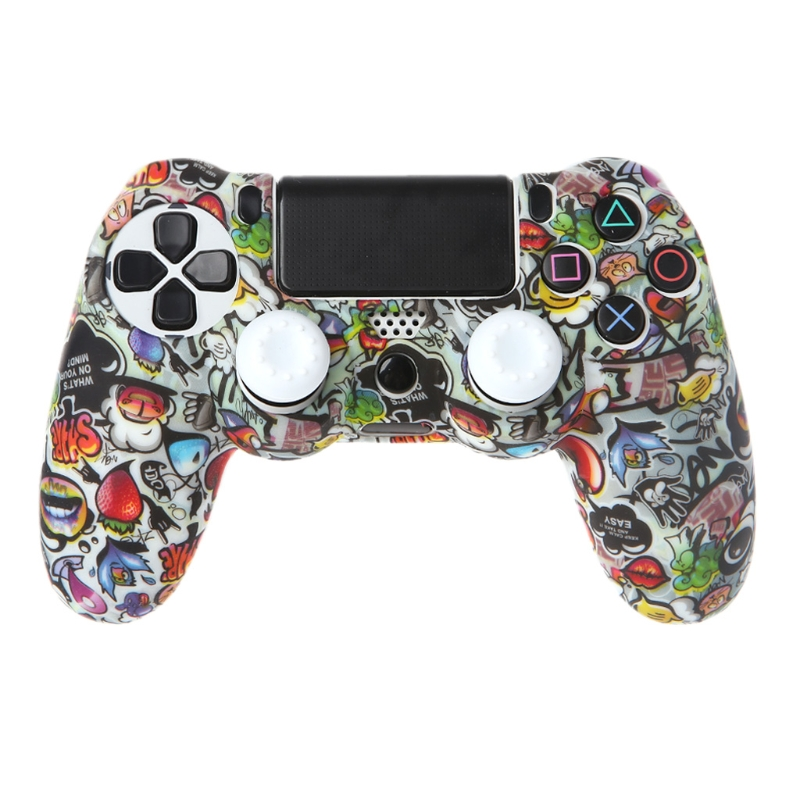 Gamepad Controller Protective Case Silicone Sleeve Guards + 2 Grip Caps For PS4