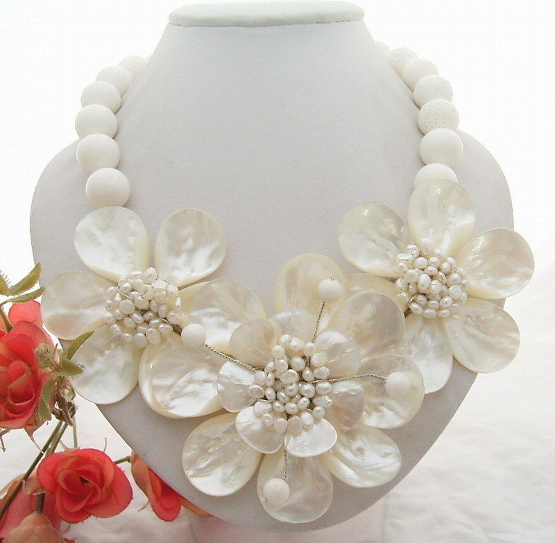 Porcelain Mother Of Pearl White Freshwater Pearl Statement Necklace