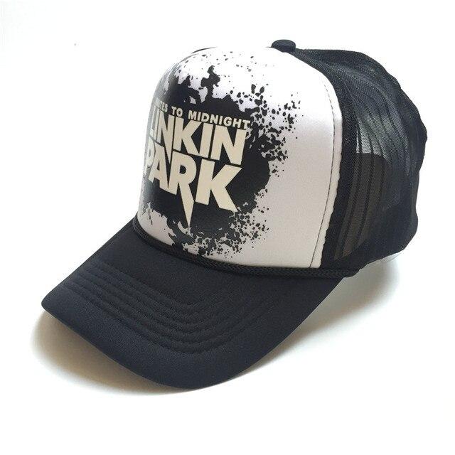 Chester banda Linkin Park Mesh Cap hombres mujeres Rock and Roll verano  camionero ajustable música Gorras e91a1f53b03