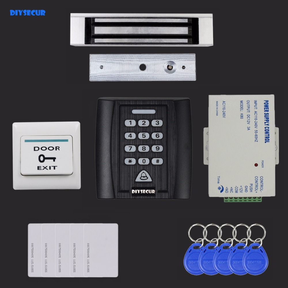 DIYSECUR 6 in 1 125KHz RFID Password Keypad Access Control System Security Kit + 180kg Magnetic Lock Door Lock + Exit Button diysecur 280kg magnetic lock 125khz rfid password keypad access control system security kit exit button k2