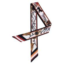 Silk Skinny Scarf Women 2019 Fashionable Hair Scarfs Tie Lady Ribbons Collar Neck Bag Strap Scarves Print Brand