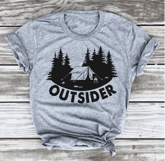 f95403a88a Outsider T-shirt Camping Tee Camper Shirt Go Outdoo Hiking Tshirt,  Adventure funny graphic