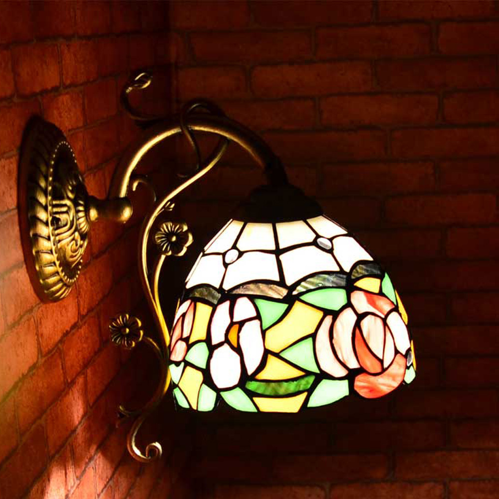 Tiffany Flower Corridor Wall Light Rose Glass Bedroom Wall Lamp Balcony Hallway Wall Sconce Porch Wall Lighting Fixtures fumat stained glass ceiling lamp european church corridor magnolia etched glass indoor light fixtures for balcony front porch