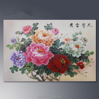 Chinese peony Flower Painting Canvas Hand painted Abstract Modern wall art Picture Oil Paintings Home Decor Ornaments