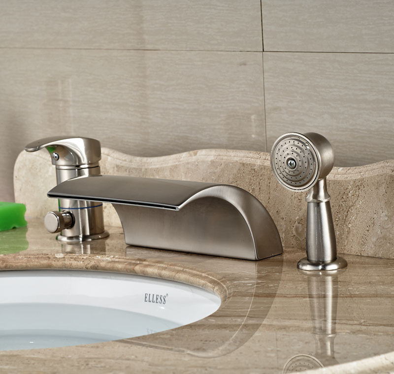 widespread brushed nickle bathtub faucet hot